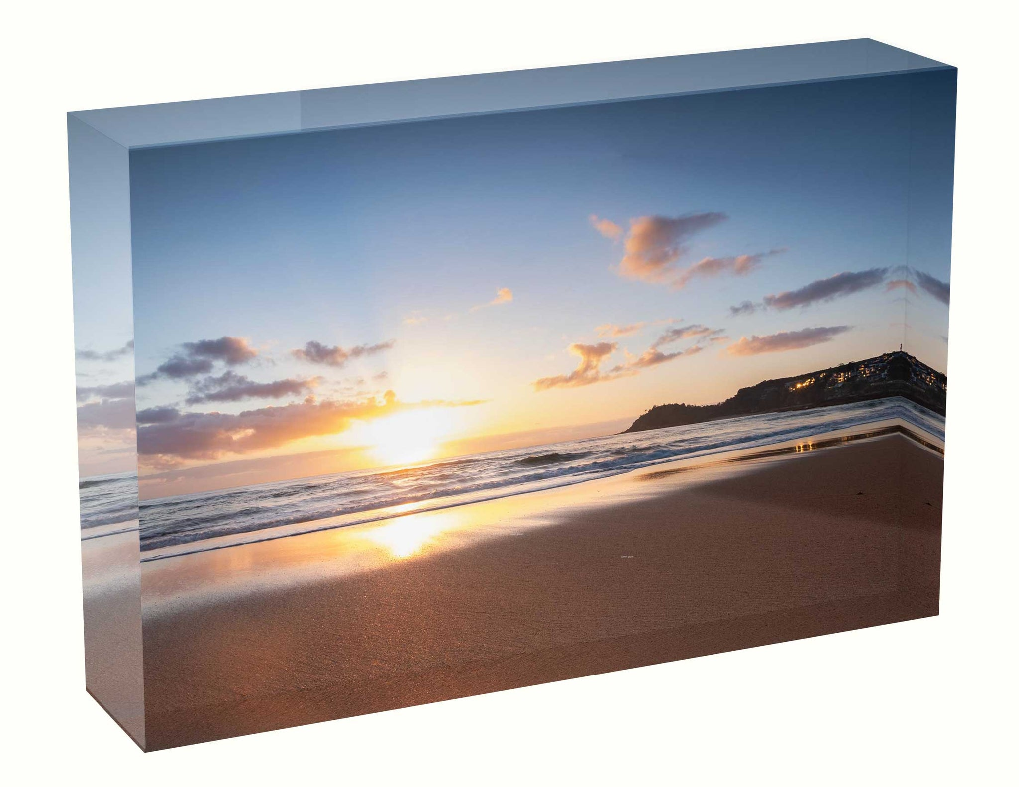 Acrylic block sunrise photo 7th September 2020 Manly beach, Sydney