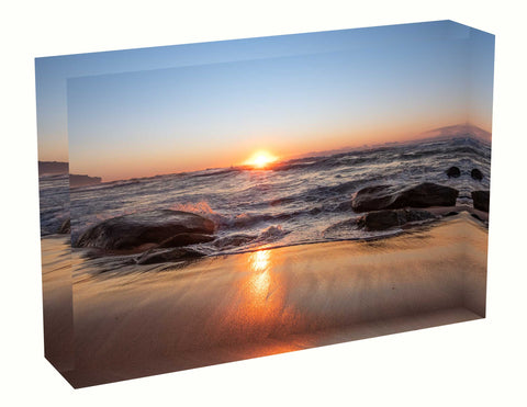 Acrylic block sunrise photo 9th August 2020 Manly beach, Sydney