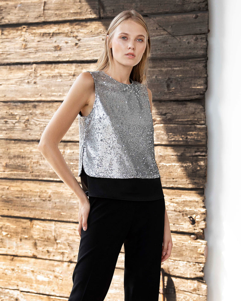 Sleeveless Sequined Layered Top
