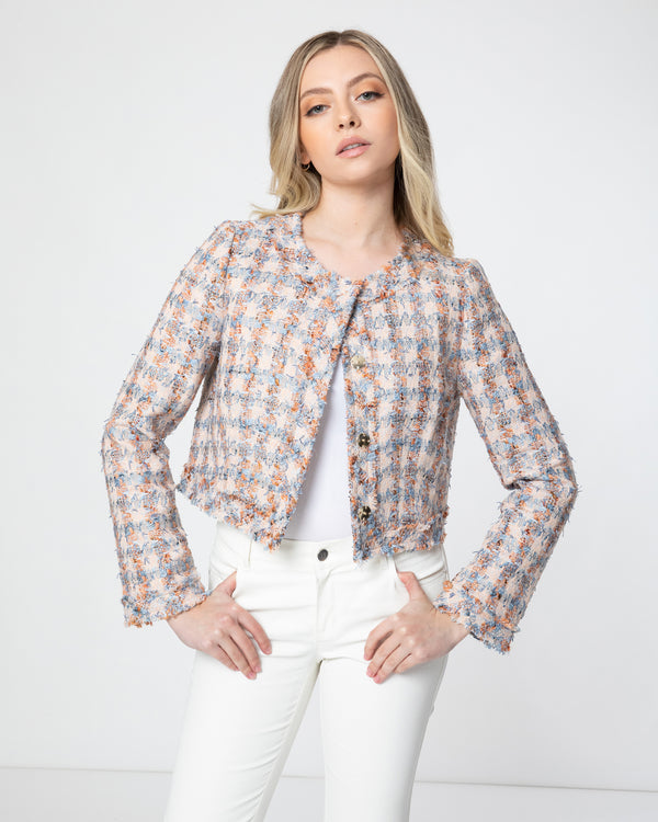 """RAYA1"" Cropped Jacket in Cotton Blend Tweed"