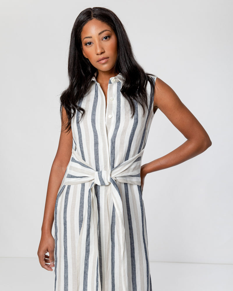 """PATRICIA"" Sleeveless Shirt Dress with Waist Tie"