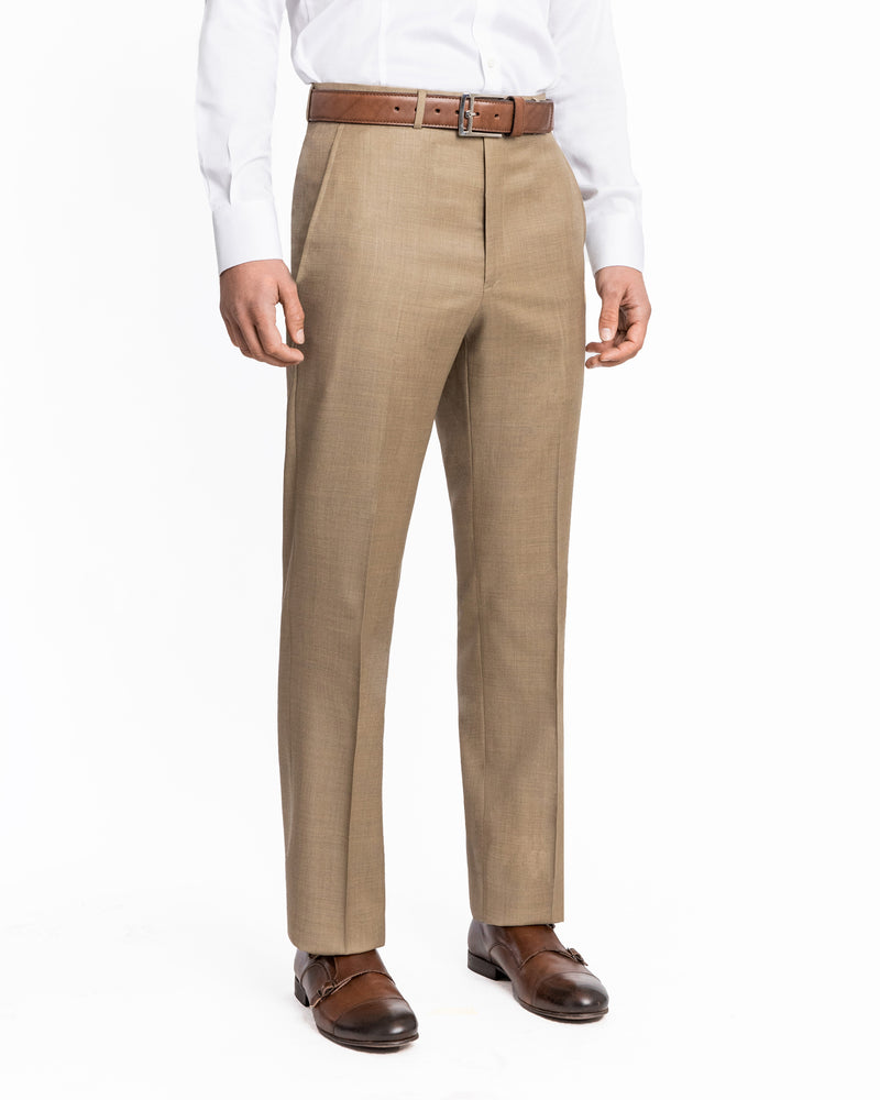 Tan Luxury Serge Flat Front Pant