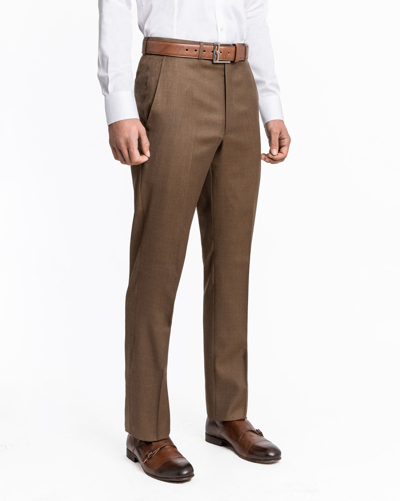 Tobacco Luxury Serge Flat Front Pant