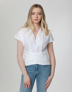 V-Neck Ruched Top in Cotton Stretch