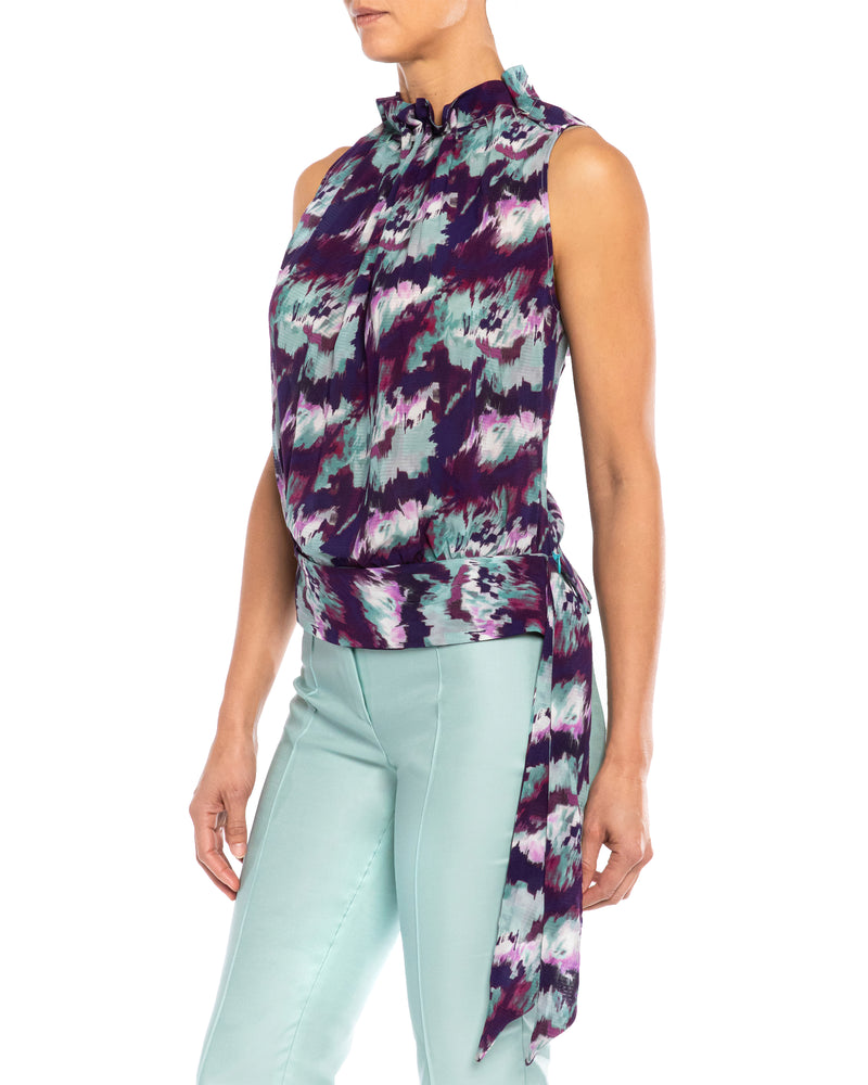 """ANNI"" Sleeveless Blouse with Waist Tie"