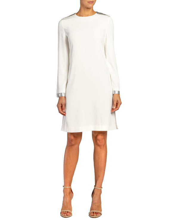 """ARIANA"" Shift Dress with Chainmail Trim in Soft Crepe"