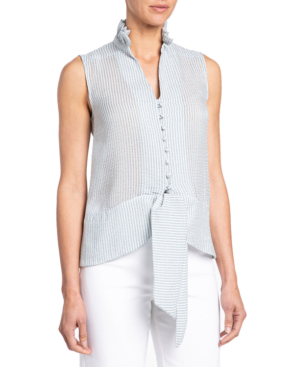 """BRINA"" Sleeveless Blouse with Ruffled Collar"