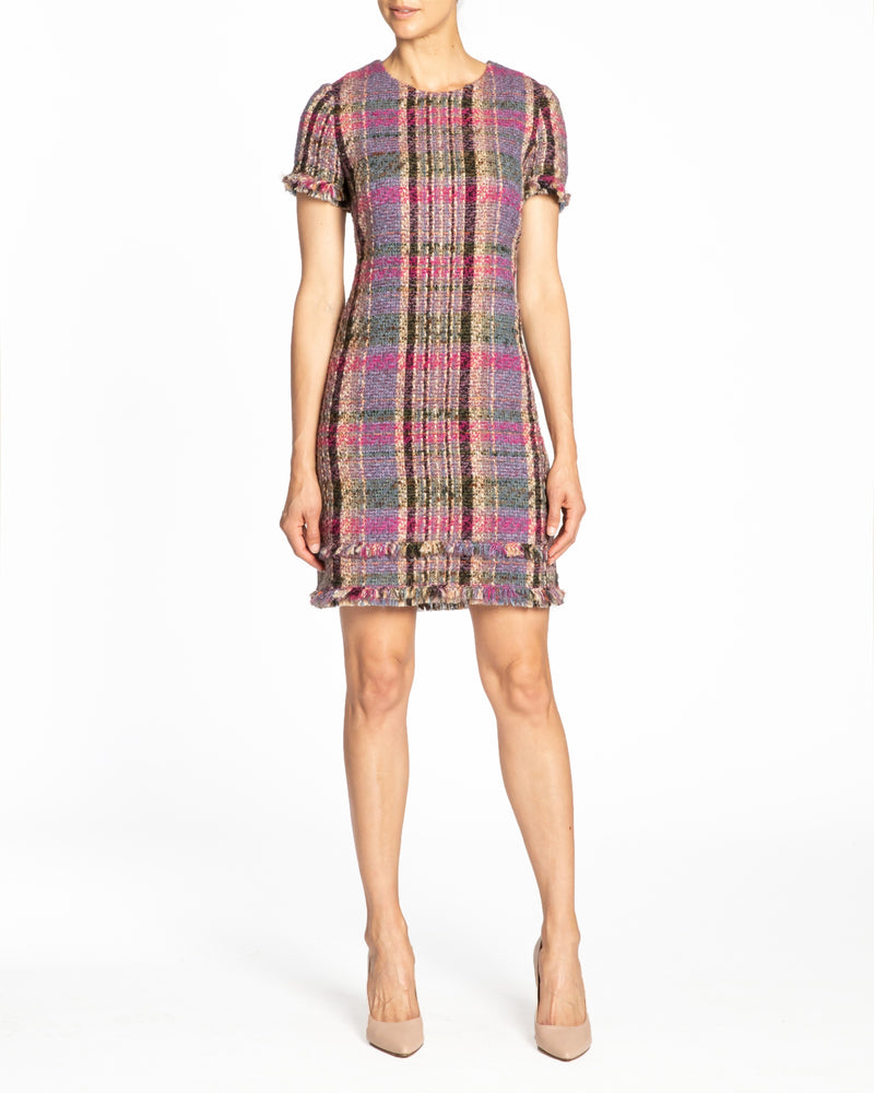 """MELANIA"" Shift Tweed Dress with Fringe Detail"