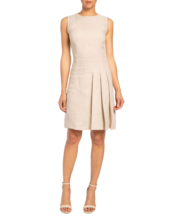 Sheath Dress with Partial Pleated Skirt