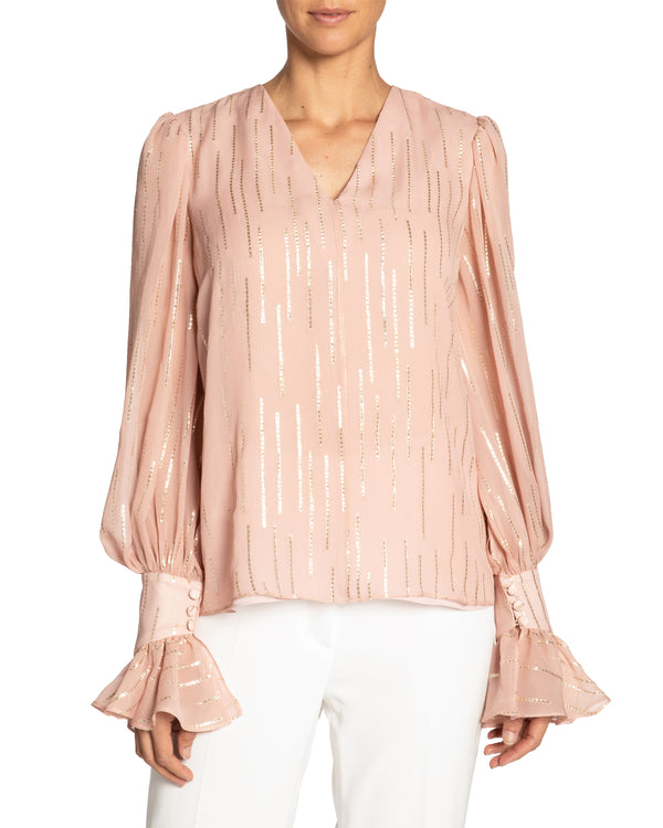 """DOMINIQUE"" Blouse with Ruffled Cuff Detail"