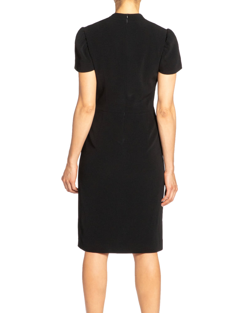 """DONNA"" Crepe Dress with Neckline Twist Detail"