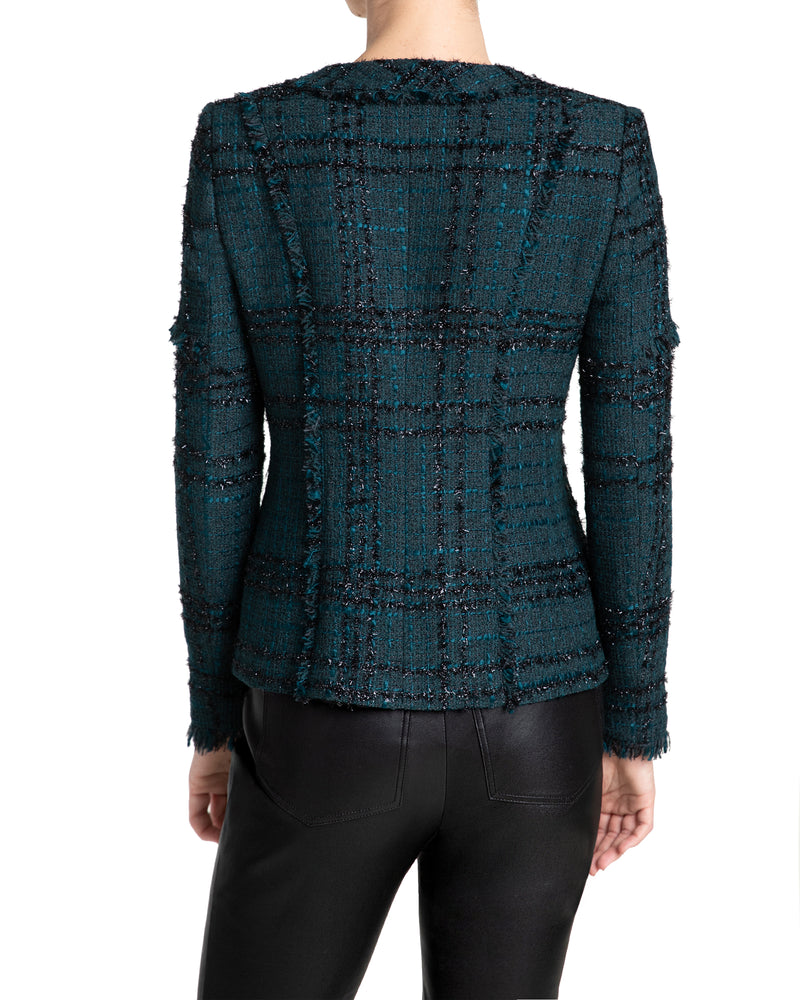 """ESTELA"" Jacket with Fringe Detail in Luxury Tweed"