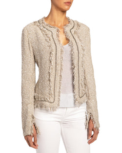 """BRITTNEY"" Jacket with Chain and Fringe Trim"