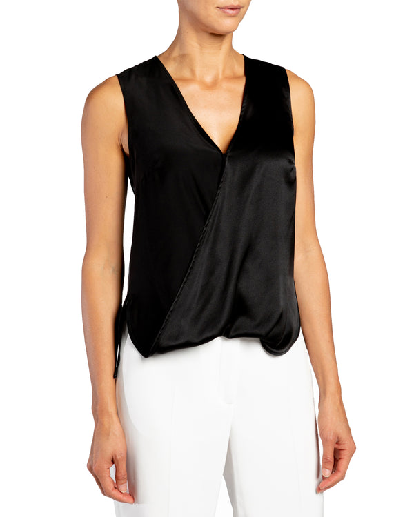 """KEONA"" Faux Wrap Sleeveless Silk Top"