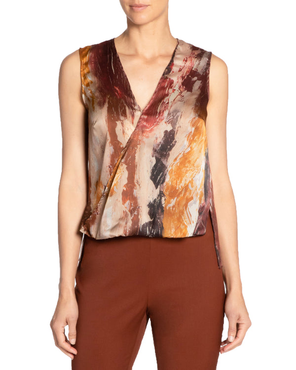 """KEONA"" Faux Wrap Sleeveless Top"