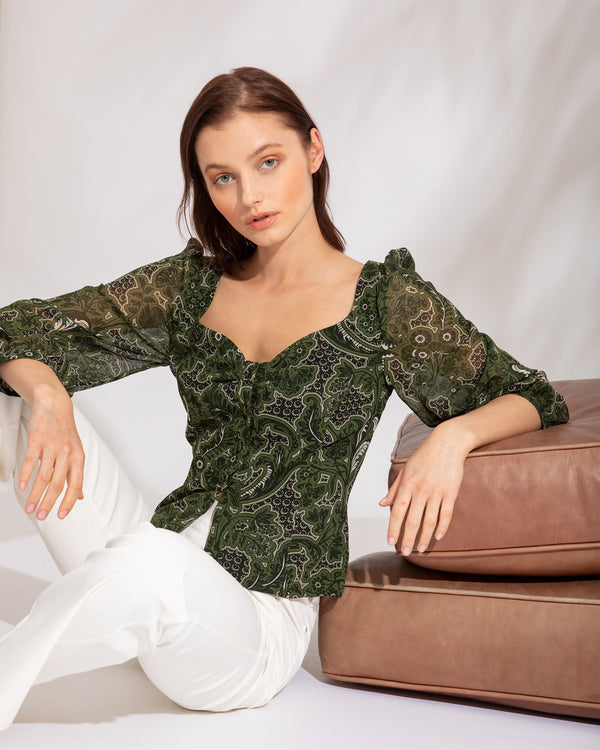 """MALLORY"" Blouse with Sweetheart Neckline"
