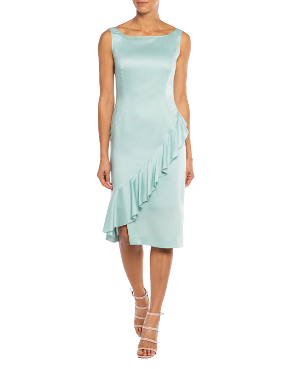 """OLINA"" Dress with Draped Front Ruffle in Sateen Twill"