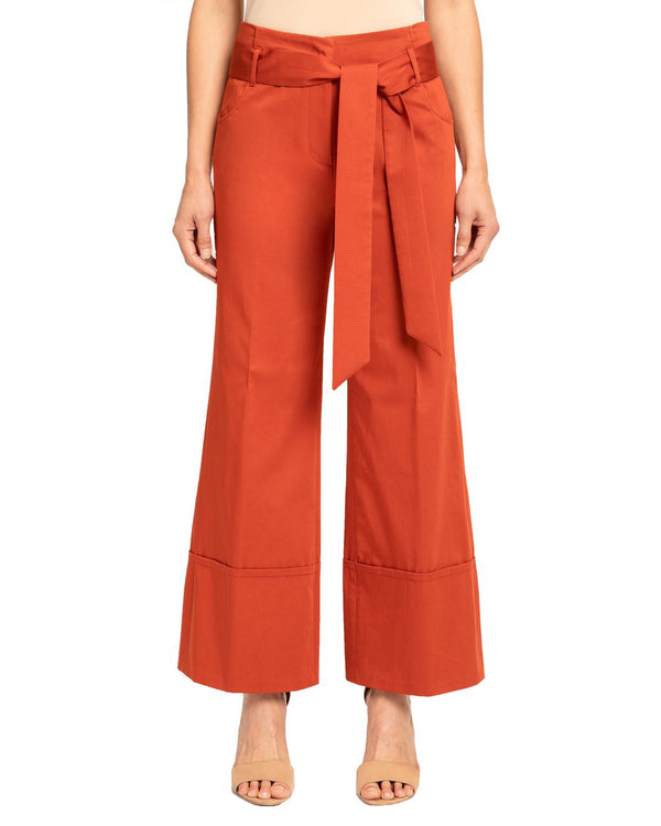 Cotton Stretch Wide Leg Pants