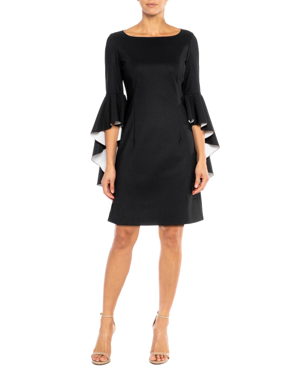 """PAIGE"" Sheath Dress with Cascading Sleeves"