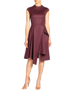 """SHIRLEY"" Dress with Asymmetric Skirt Drape in Wool Stretch"