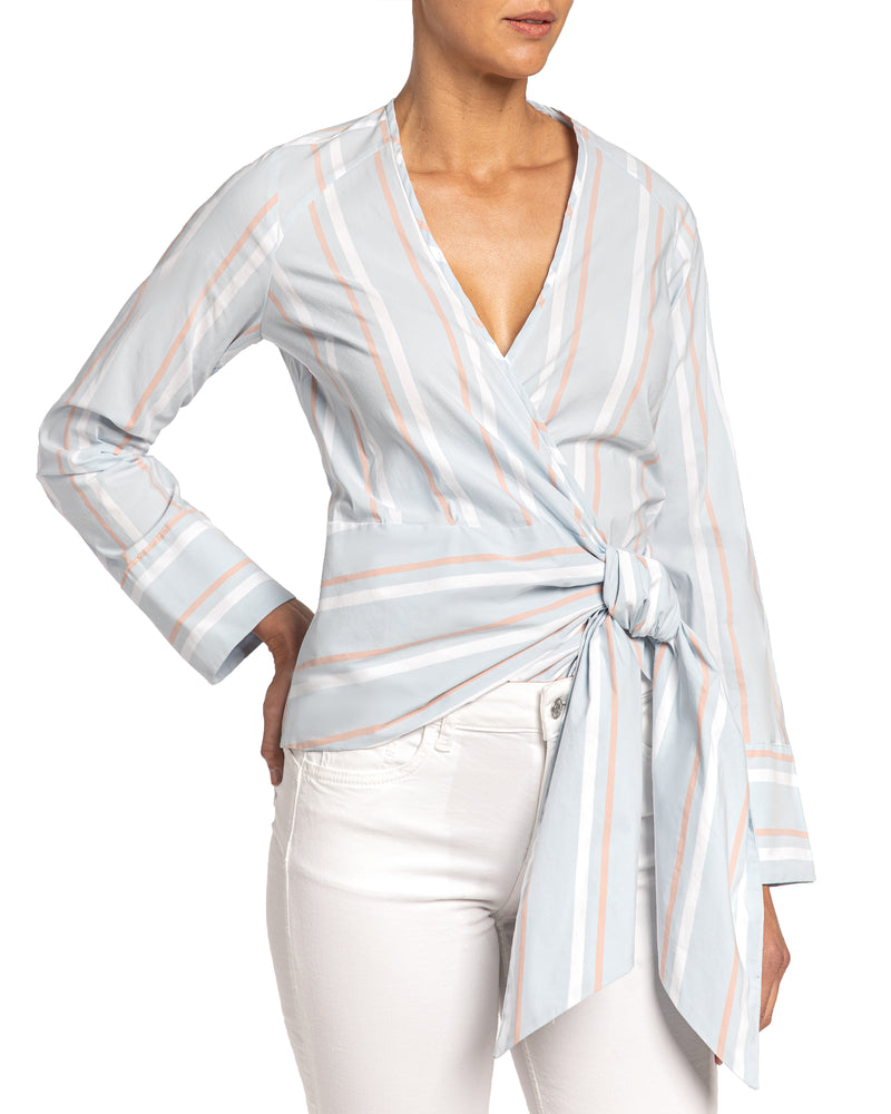 Wrap Blouse in Striped Cotton Stretch