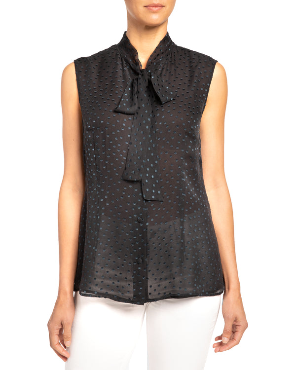 """TECA"" Sleeveless Top with Necktie in Silk Chiffon"
