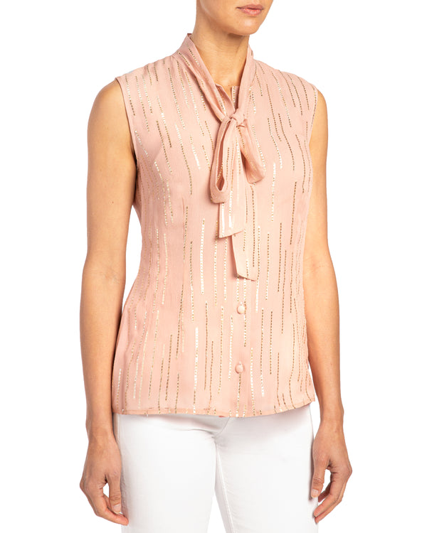 """TECA"" Sleeveless Top with Necktie"