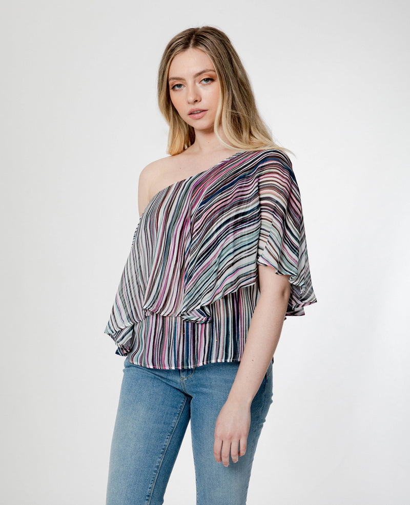 """VALBA"" Over-the-Shoulder Ruffle Overlay Blouse"