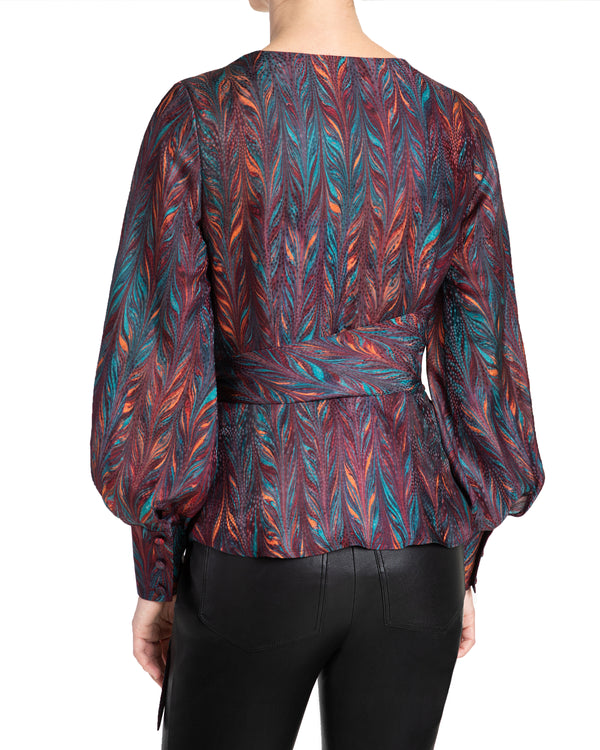 """VEGA1"" Faux Wrap Blouse with Lantern Sleeves"