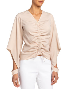 """VIDA"" Blouse with Front Ruched Drawstring"