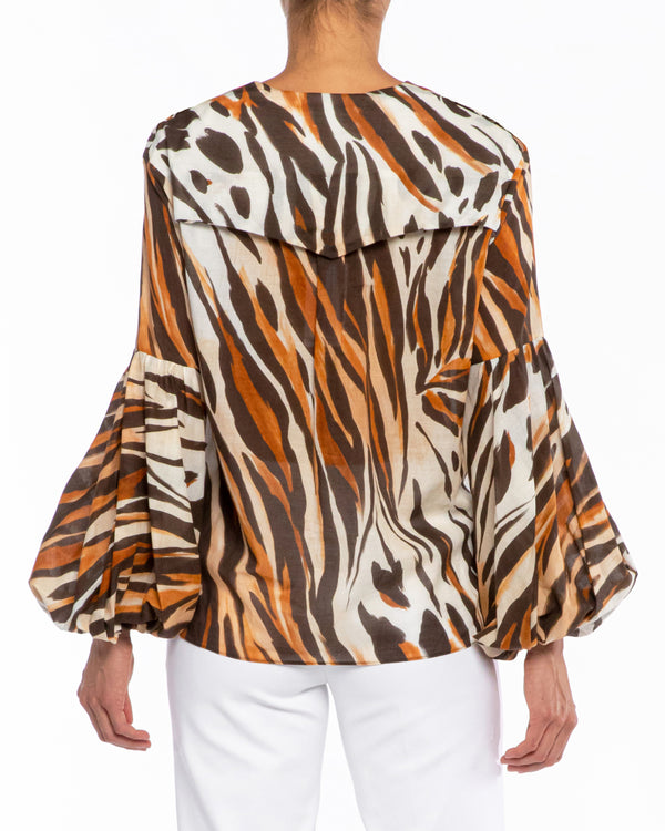 """VALERIO"" Lantern Sleeve Blouse in Cotton Voile"