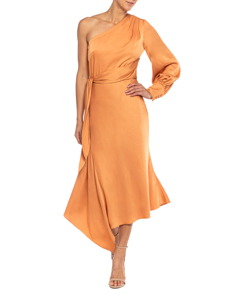 """VARGA"" One Shoulder Faux Wrap Dress with Asymmetrical Skirt"