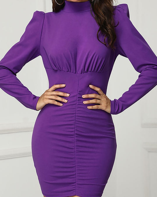 Puffed Sleeve Ruched Design Dress