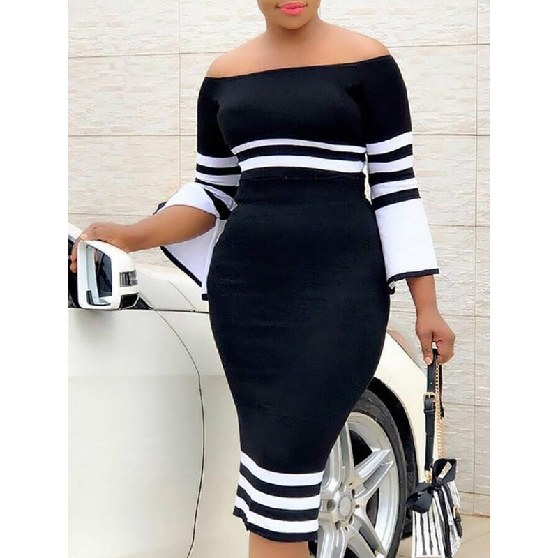 Black & White Long Sleeve Striped Off Shoulder Dress