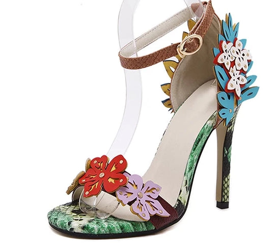 High Heel Sandal Sexy Open Toe Flower Shoes