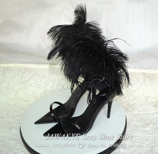 Black Fashionable Feather High Heels