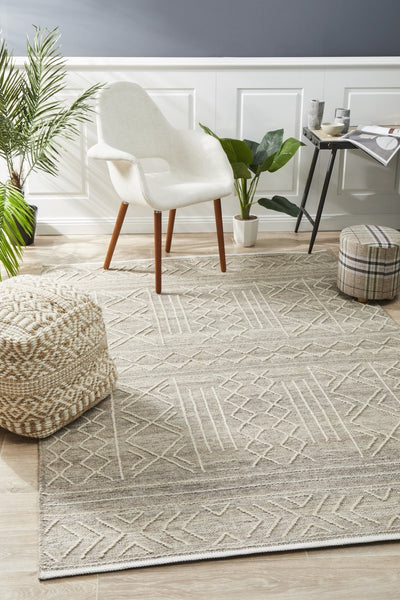 Tulum Stitch Woven Rug - Natural