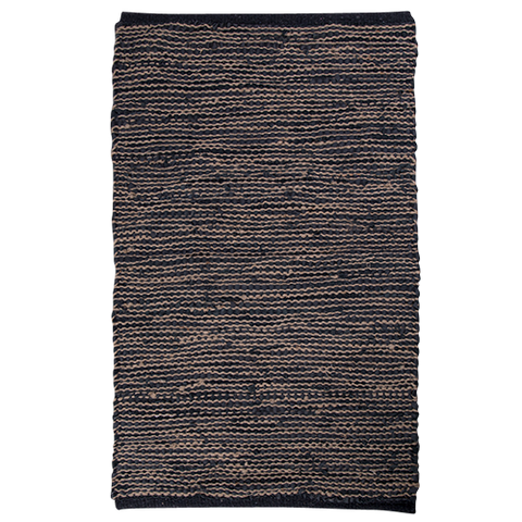 Leather & Jute Woven Rug - Charcoal 140x200