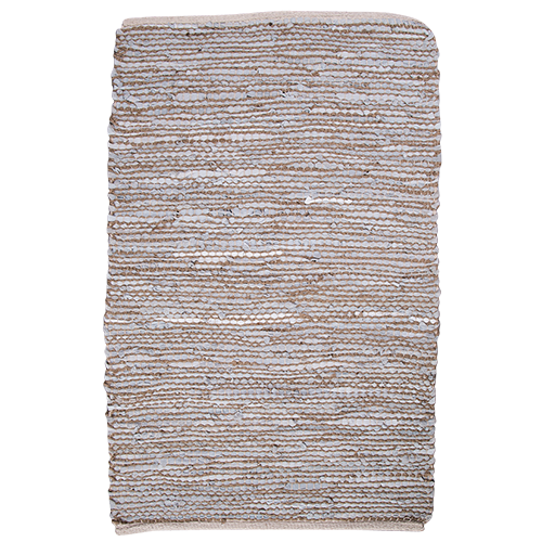 Leather & Jute Woven Rug - Light Grey 140x200