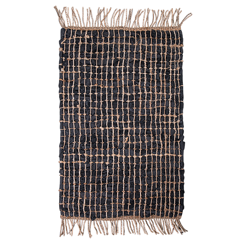 Leather Jute Rug - Black 140x200