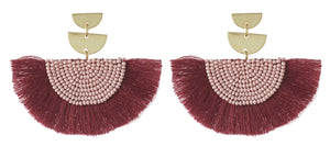Cetaki earrings - Burgundy & Pink