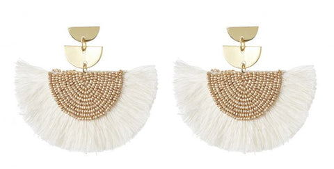 Cetaki earrings - cream & gold