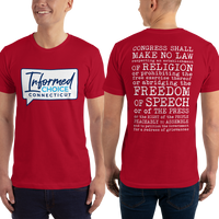 Informed Choice Connecticut OFFICIAL Red Shirt. First Amendment. Unisex Short Sleeve T-Shirt