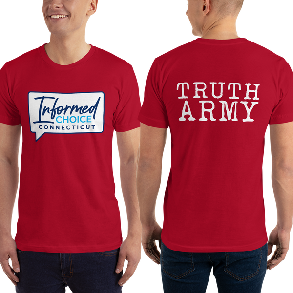 Informed Choice Connecticut OFFICIAL Red Shirt. Truth Army. Unisex Short Sleeve T-Shirt