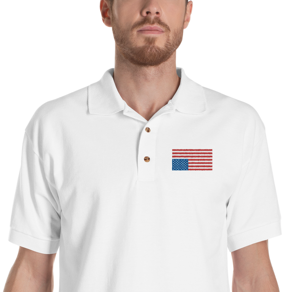 USA IN DISTRESS. Embroidered Cotton Polo Shirt