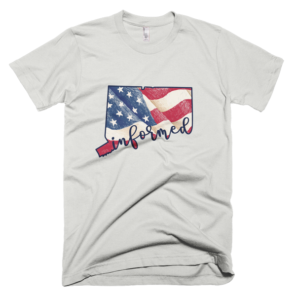 Connecticut Flag Informed Script. Unisex Short Sleeve T-Shirt - Made in the USA