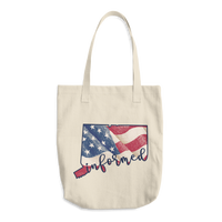 Connecticut Flag Informed Script. Bull Denim Cotton Tote Bag - Made in the USA