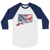 Connecticut Flag Informed Script. Unisex 3/4 Sleeve Raglan Shirt - Made in the USA