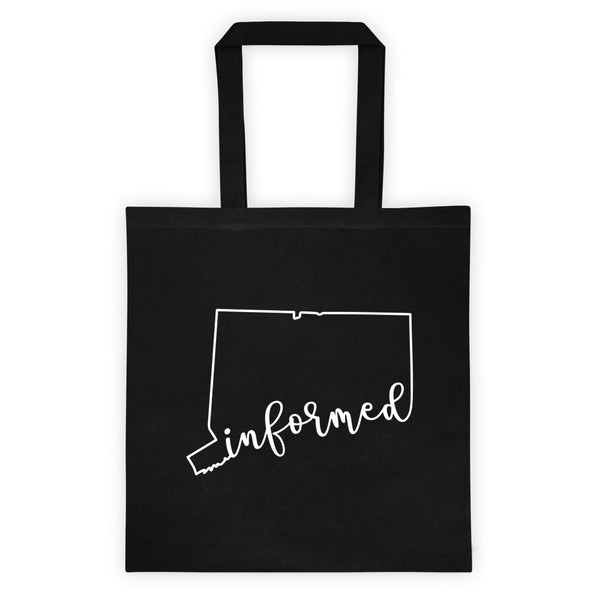 Connecticut Informed Choice Script. Black Cotton Canvas Tote Bag