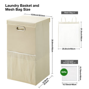 Greenstell Foldable Laundry Hamper With Lid and Oval Handles